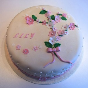doptårta, rosa dop, blommor